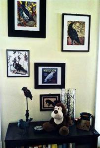 Doug with some of my crow art... He's supposed to be dusting.